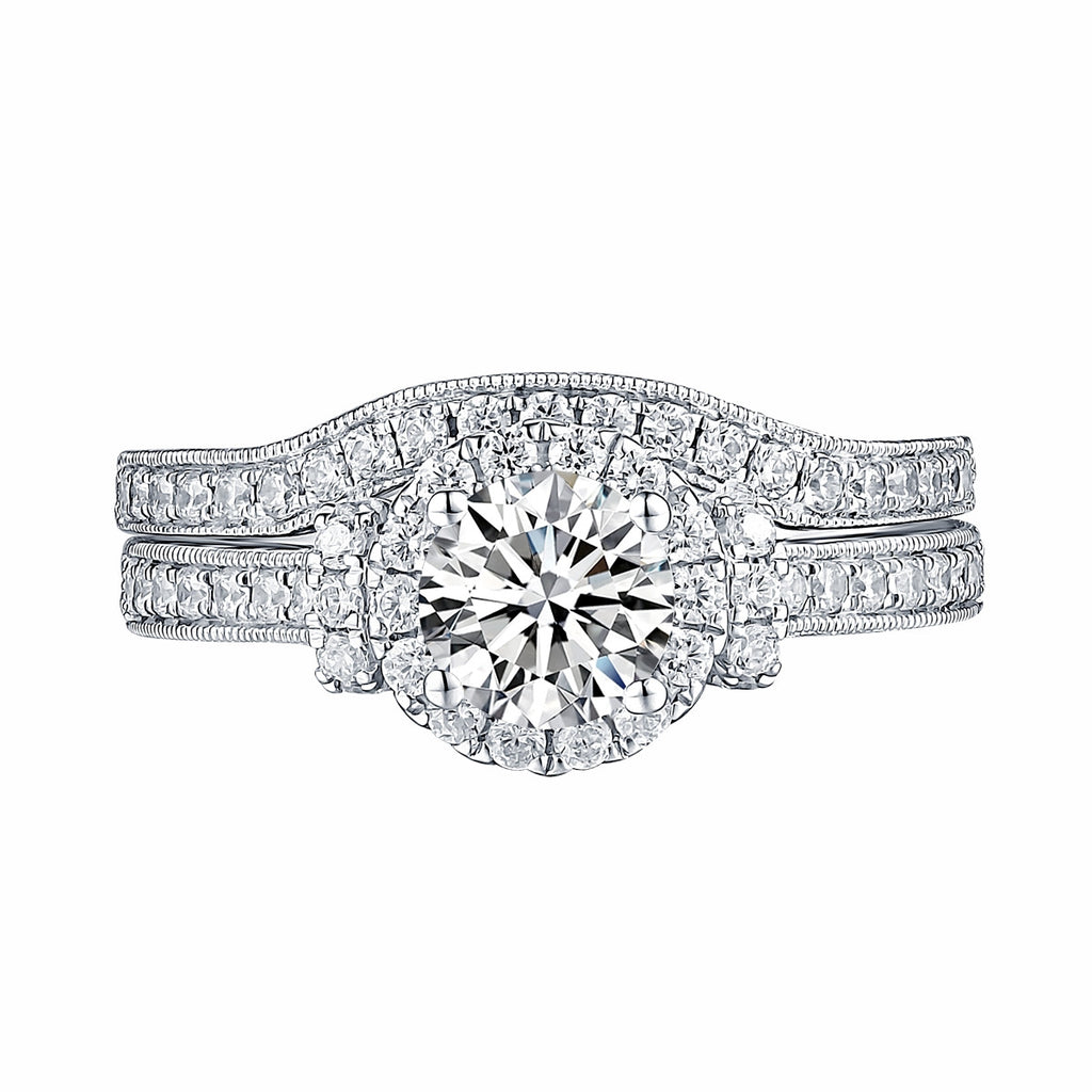 White Gold Round Engagement Ring S201653A and Band S201653B