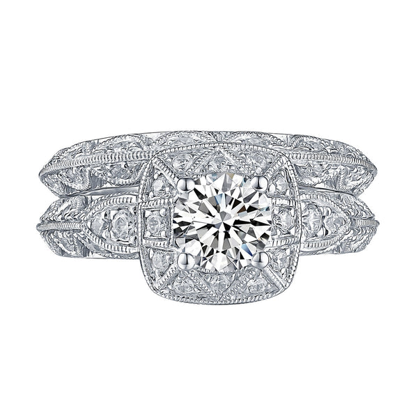 White Gold Round Engagement Ring S201655A and Band S201655B