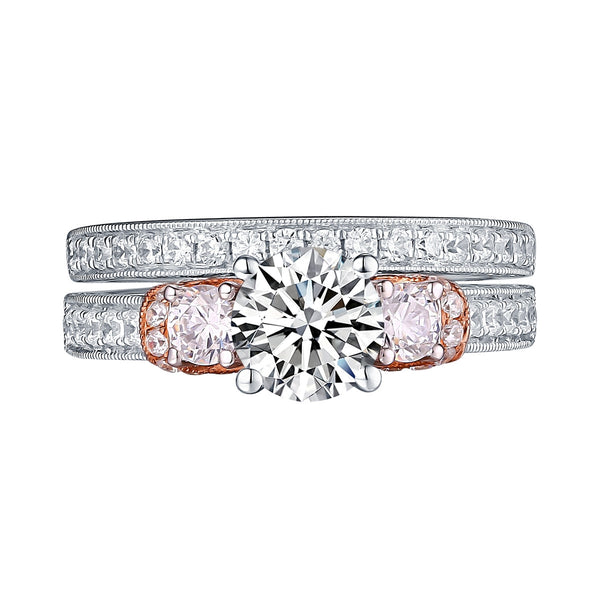 White Gold Round Engagement Ring S201656A and Band S201656B