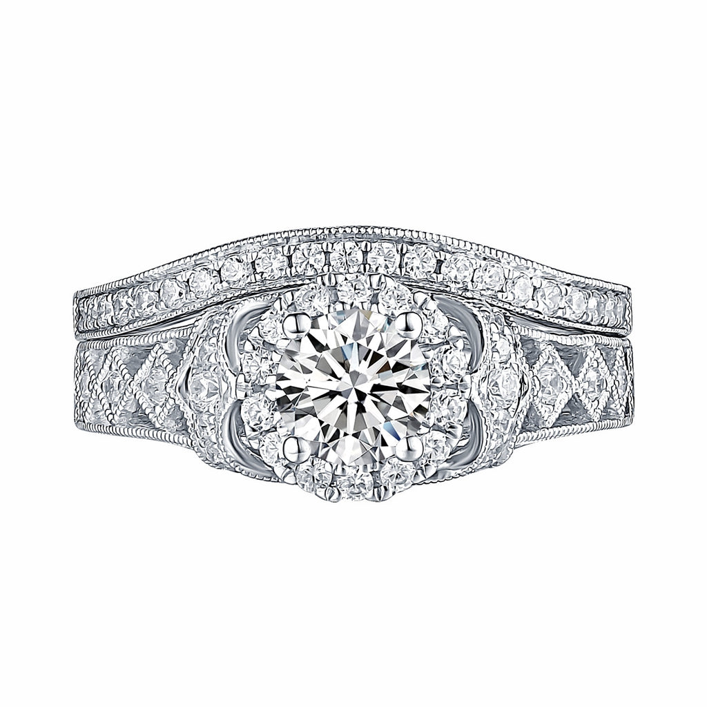 White Gold Round Engagement Ring S201660A and Band S201660B