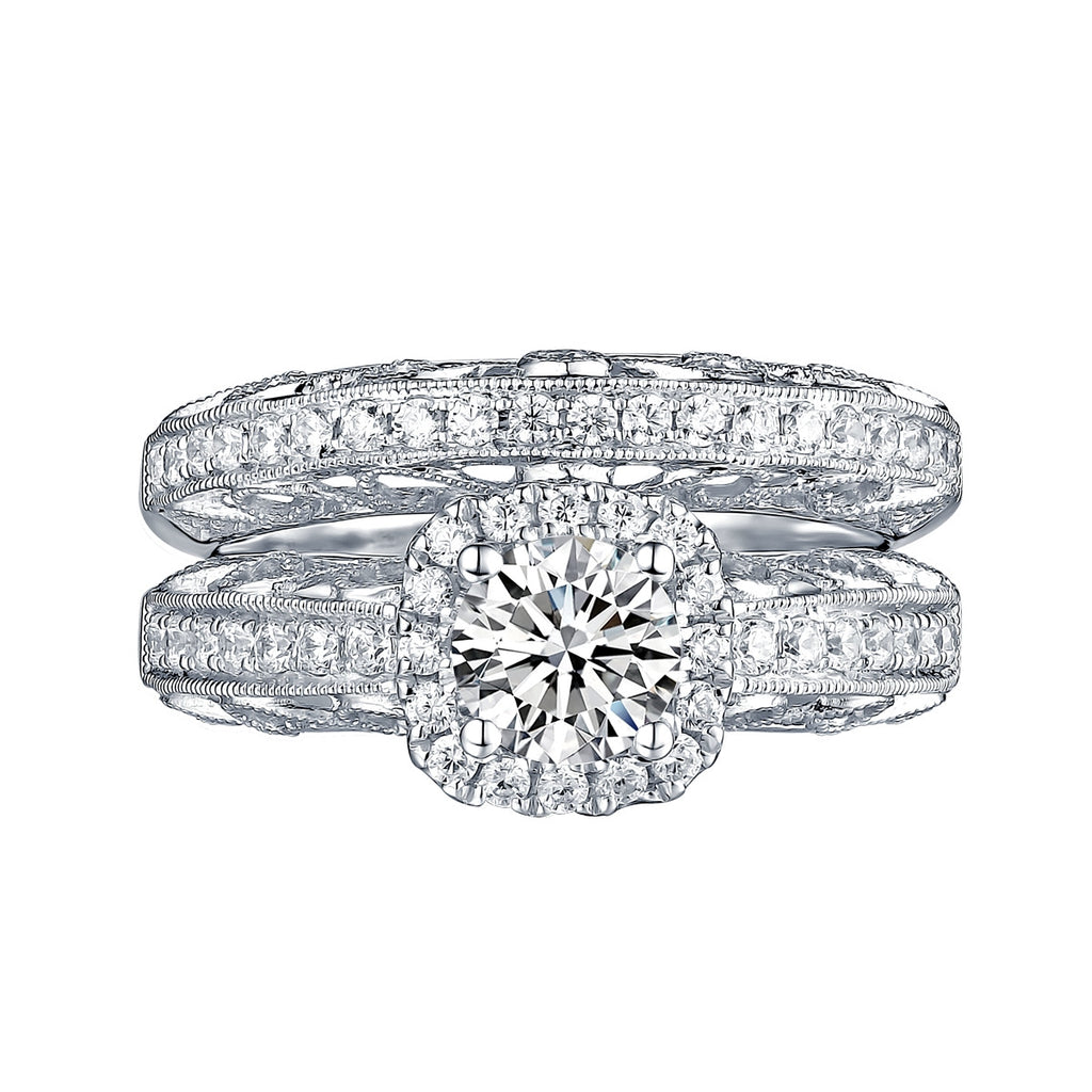 White Gold Round Engagement Ring S201667A and Band S201667B