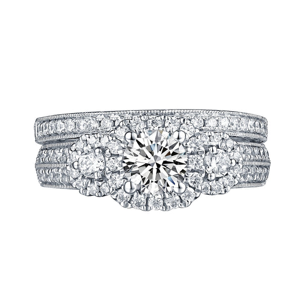 White Gold Round Engagement Ring S201673A and Band S201673B