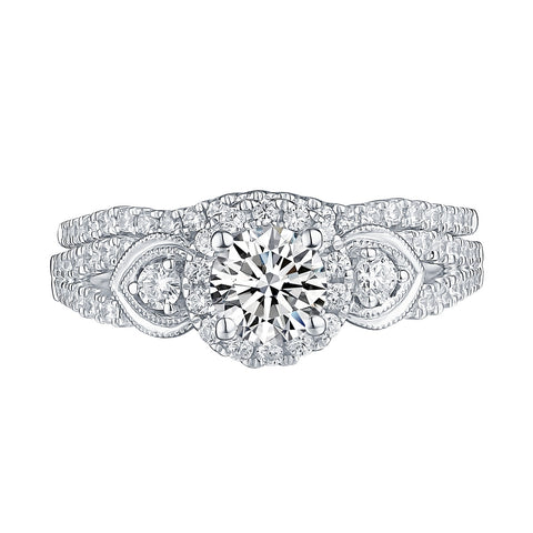 White Gold Round Engagement Ring S201676A and Band S201676B