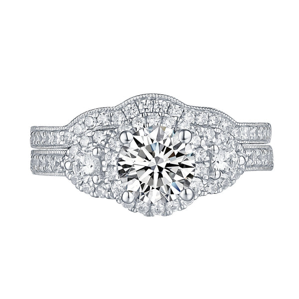 White Gold Round Engagement Ring S201788A and Band S201788B