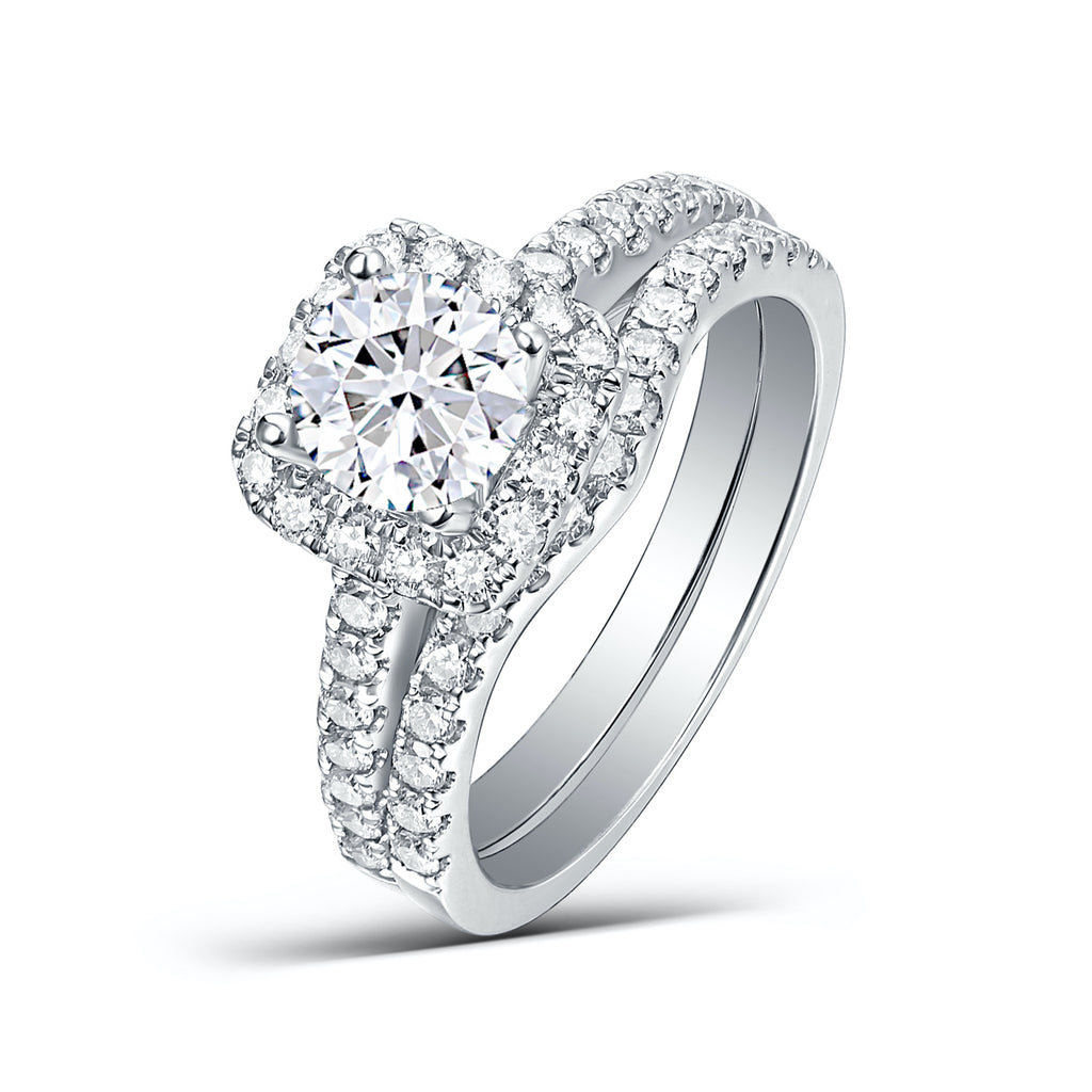 Round Diamond Double Halo Engagement Ring S201789A and Band Set S201789B
