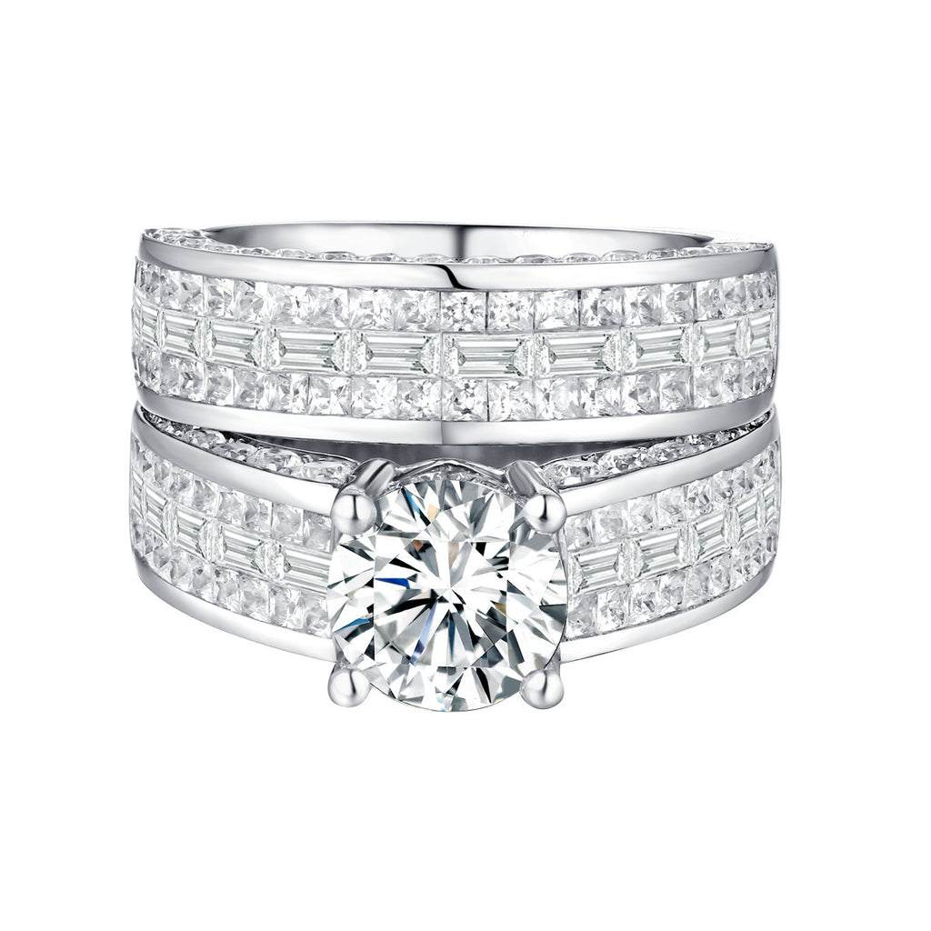 Bold Diamond Engagement Ring S201836A and Band Set S201836B