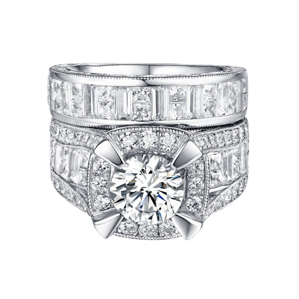 Bold Diamond Engagement Ring S201838A and Band Set S201838B