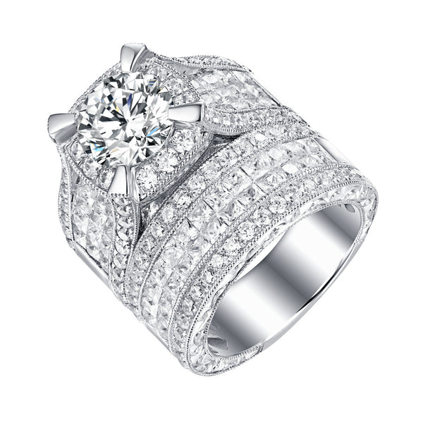 Bold Diamond Engagement Ring S201841A and Band Set S201841B