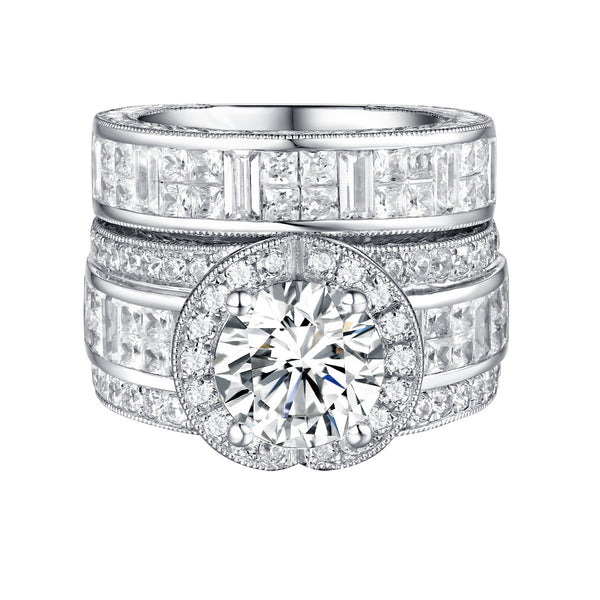 Bold Diamond Engagement Ring S201843A and Band Set S201843B
