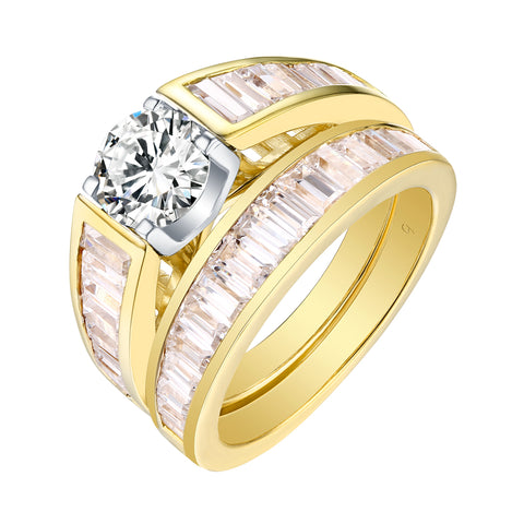 Fancy Cut Round and Taper Diamond Engagement Ring S201885A and Matching Wedding Ring S201885B