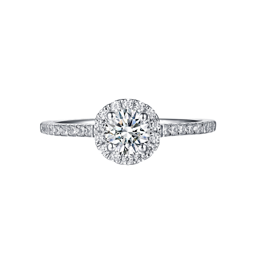 Round Halo Engagement Ring S201897A and Matchng Wedding Band Set S201897B