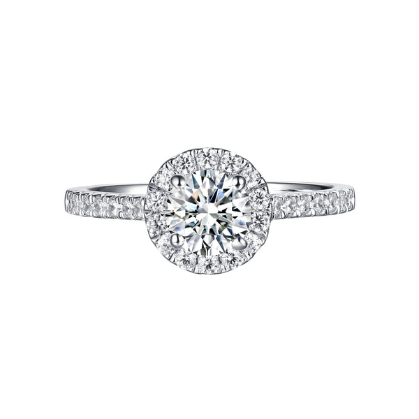 Round Halo Engagement Ring S201898A and Matching Wedding Band Set S201898B