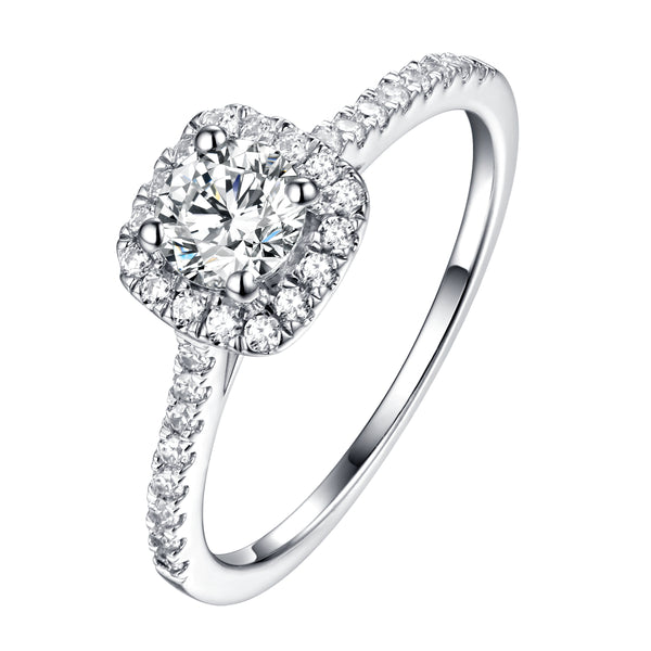 Round Halo Engagement Ring S201900A and Matching Wedding Band Set S201900B