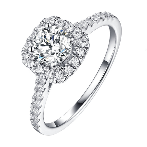 Round Halo Engagement Ring S201901A and Matching Wedding Band Set S201901B