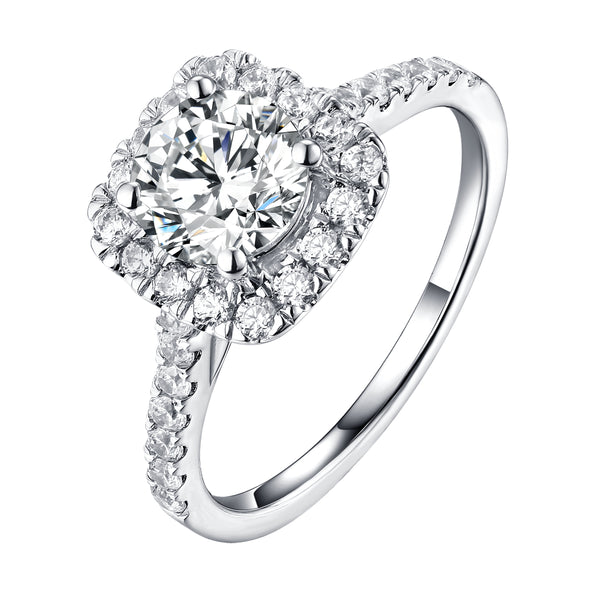 Round Halo Engagement Ring S201902A and Matching Wedding Band Set S201902B