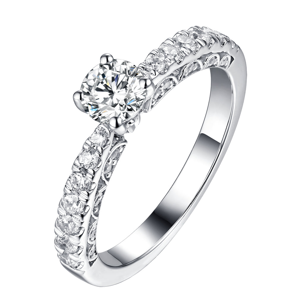 Solitaire Plus Engagement Ring S201903A and Matching Wedding Band Set S201903B