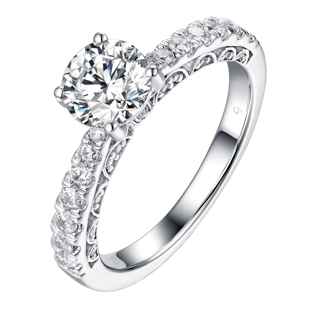 Solitaire Plus Engagement Ring S201905A and Matching Wedding Band Set S201905B