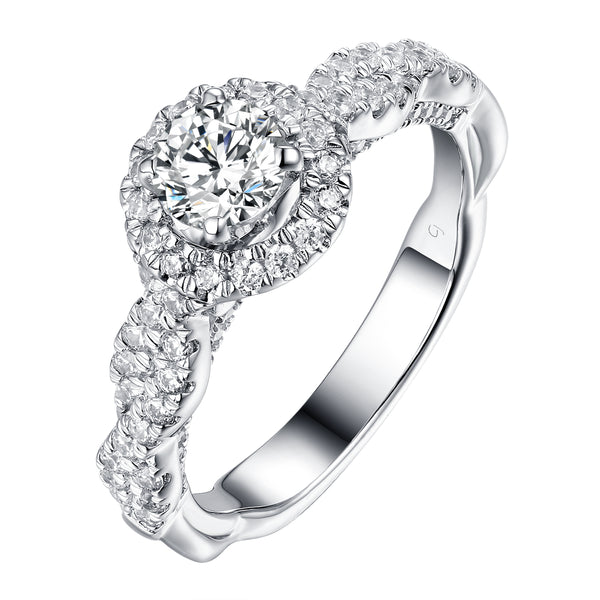 Round Halo Engagement Ring S201906A and Matching Wedding Band Set S201906B