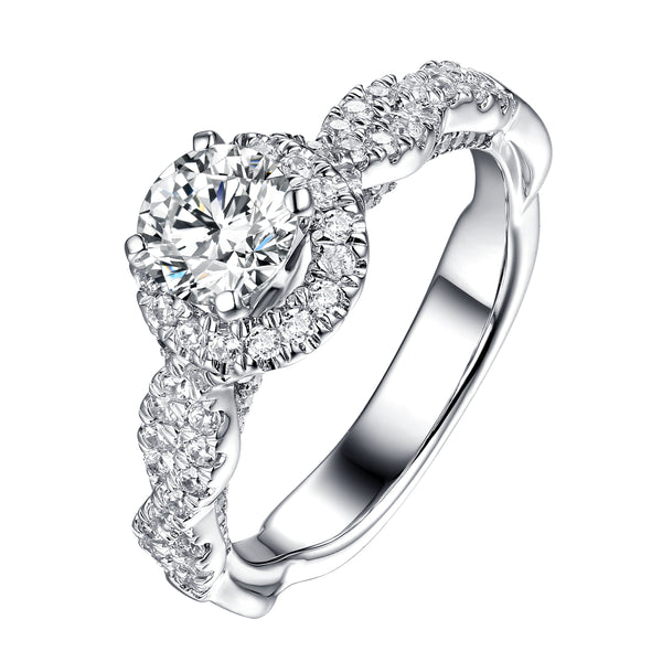 Round Halo Engagement Ring S201907A and Matching Wedding Band Set S201907B