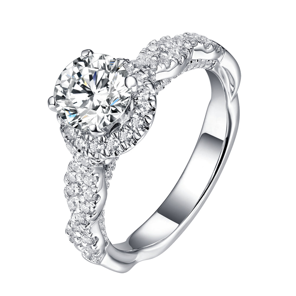 Round Halo Engagement Ring S201908A and Matching Wedding Band Set S201908B