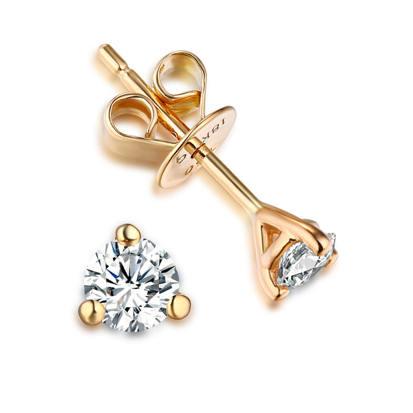 Yellow Gold Solitaire Earring 14 KT in 0.33 Ct Tw | S201971