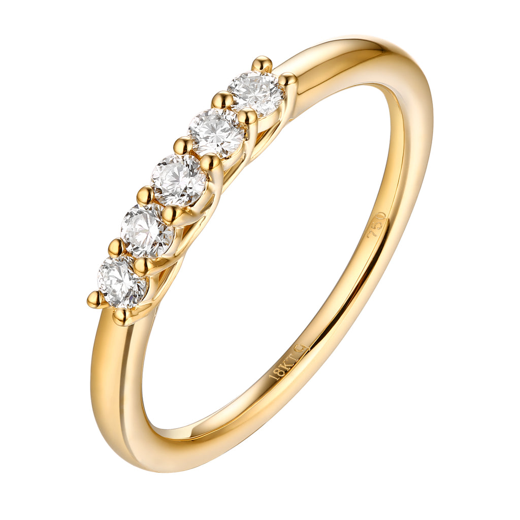 14KT Yellow Gold 5 Diamond Set Band - S201977B