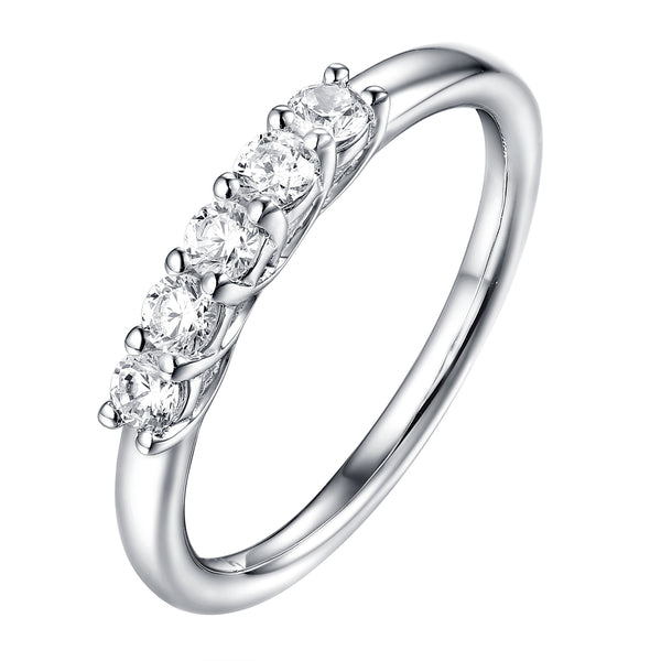 14KT White Gold 5 Diamond Prong Band - S201978B