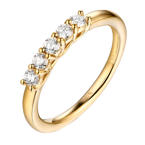 14KT Yellow Gold 5 Diamond Band - S201978B
