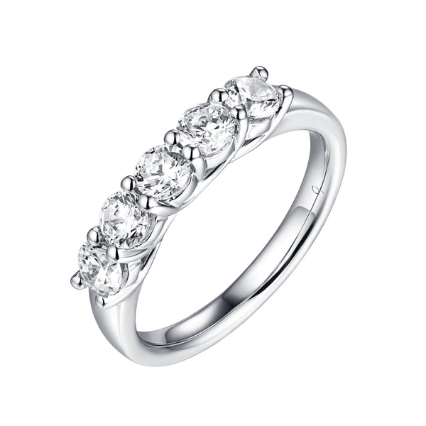 14KT White Gold 5 Diamond Prong Band - S201981B