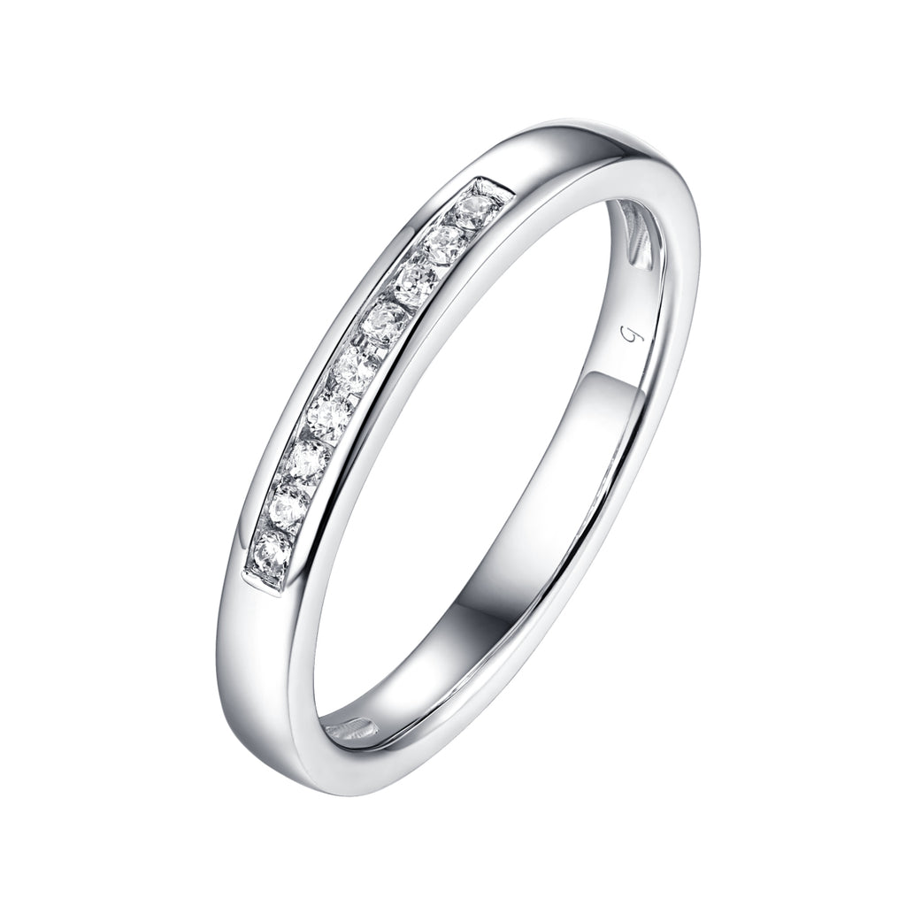 14KT White Gold 9 Diamond Channel Band - S201982B