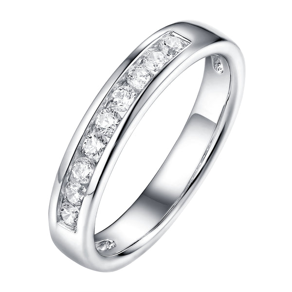 14KT White Gold 9 Diamond Channel Band - S201983B