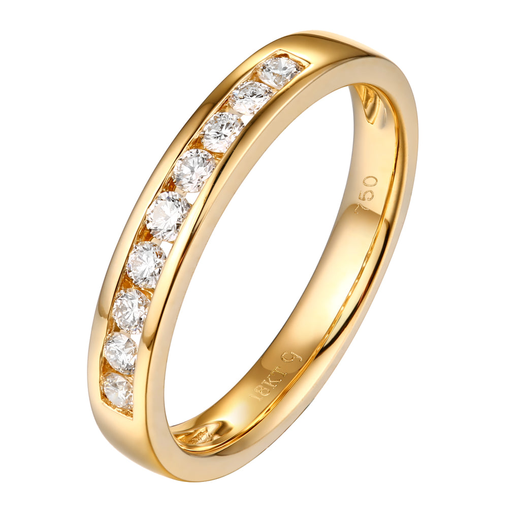 14KT Yellow Gold 9 Diamond Channel Band - S201983B