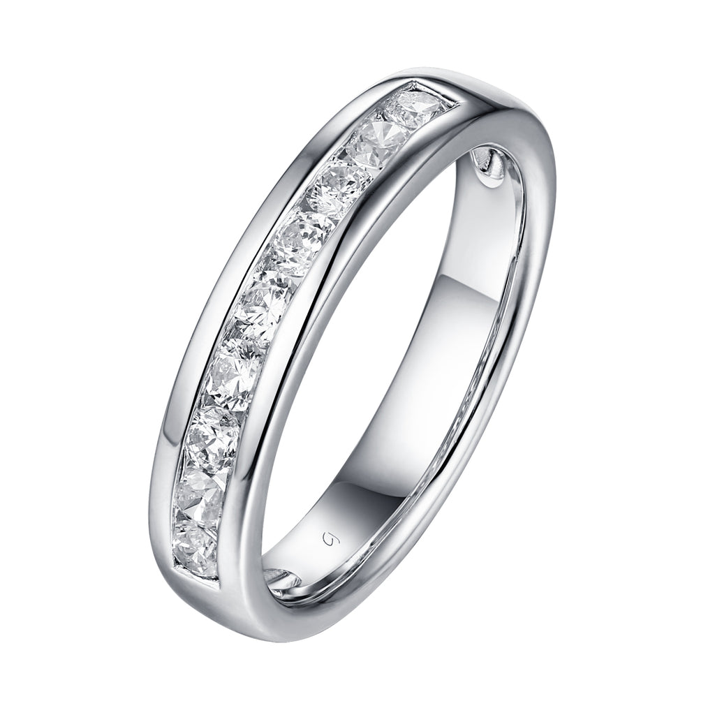 14KT White Gold 9 Diamond Channel Band - S201984B