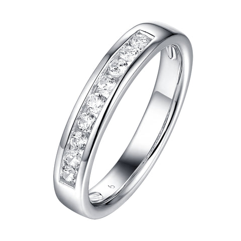 14KT White Gold 9 Diamond Channel Band - S201985B