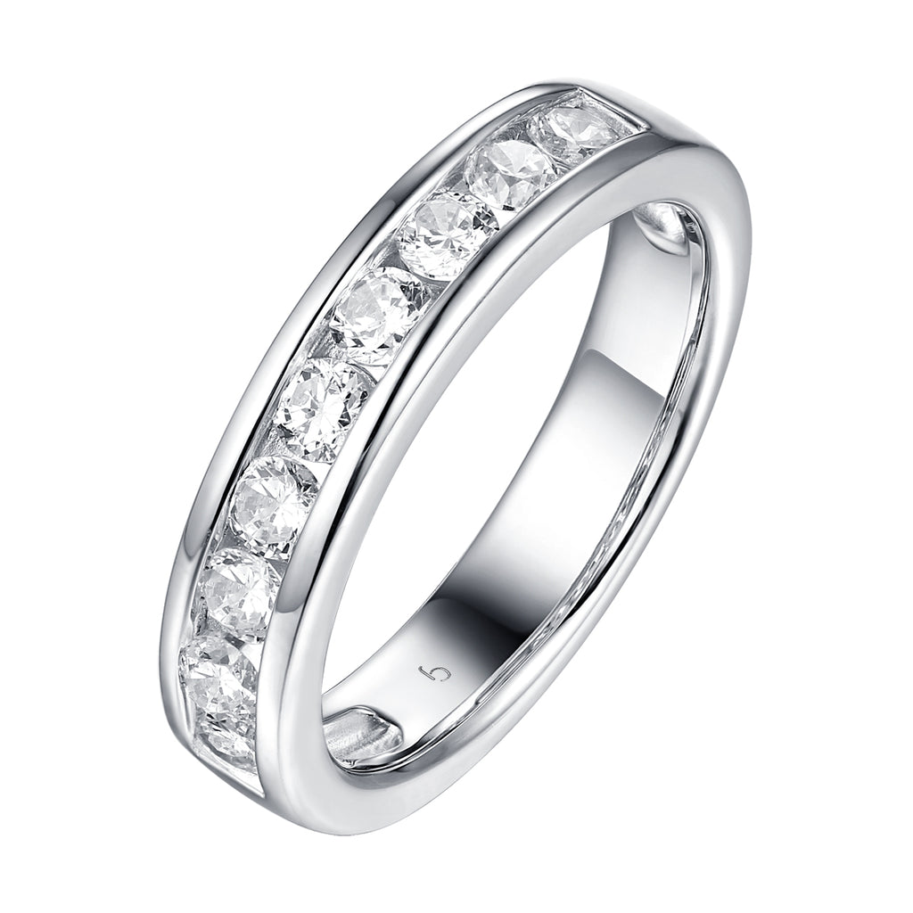 14KT White Gold 7 Diamond Channel Band - S201986B