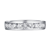 14KT White Gold 9 Diamond Channel Band - S201987B