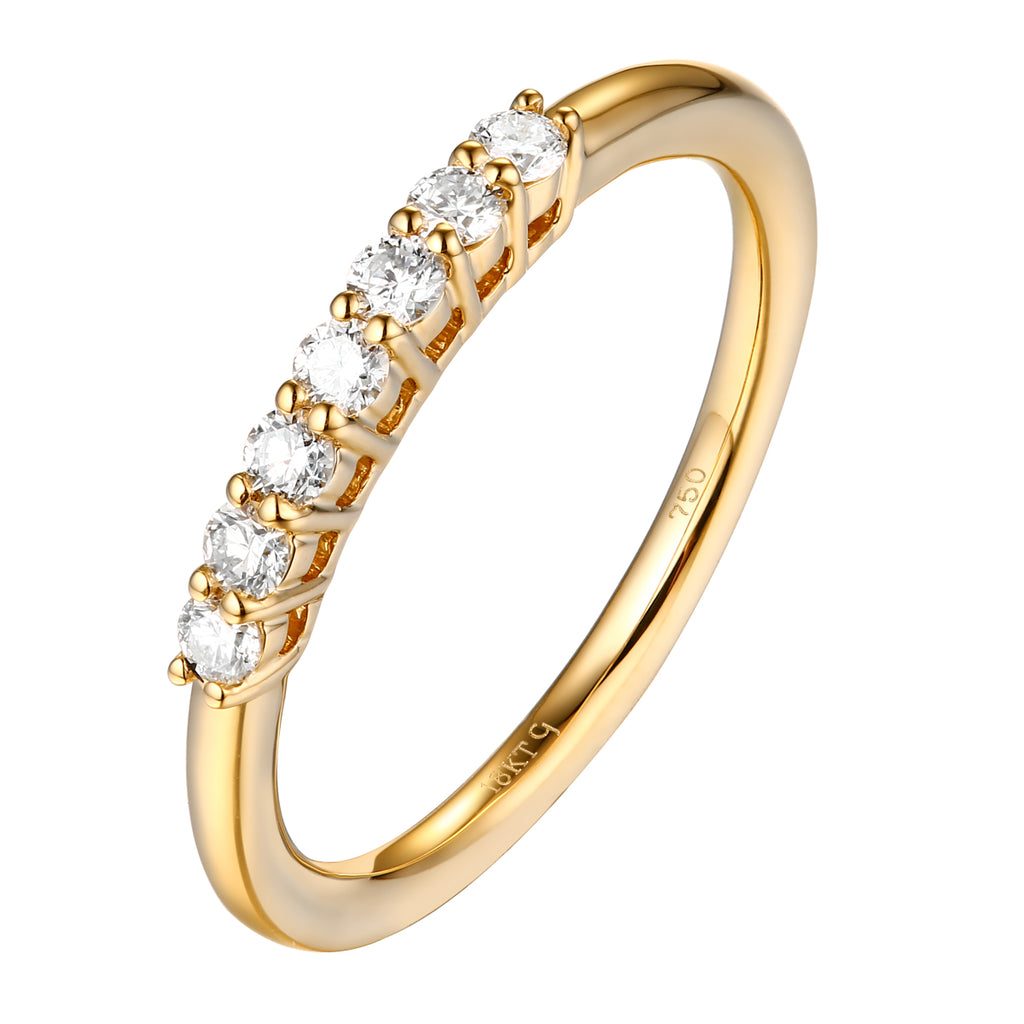 14KT Yellow Gold 7 Diamond Prong Band - S201988B