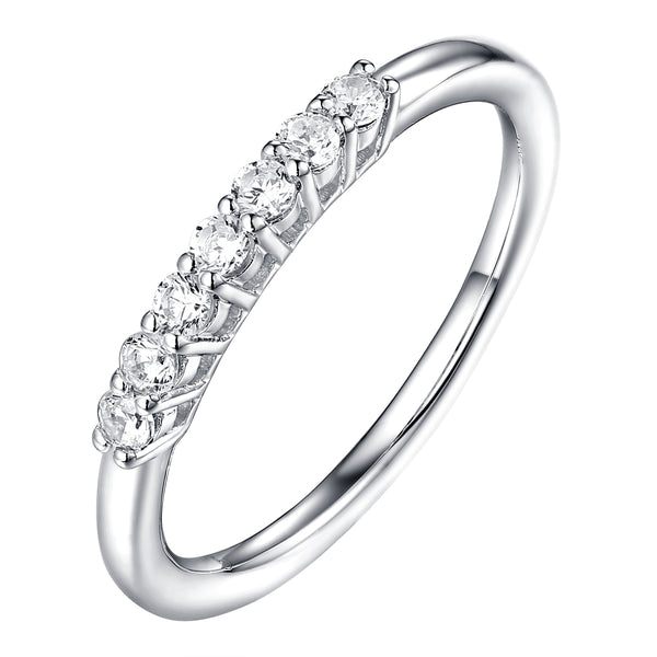 14KT White Gold 7 Diamond Prong Band - S201988B
