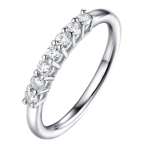 14KT White Gold 7 Diamond Prong Band - S201989B