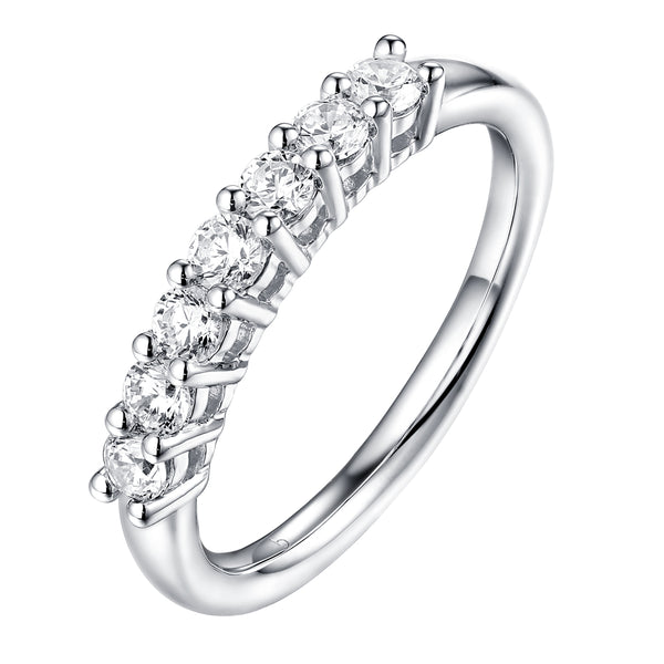 14KT White Gold 7 Diamond Prong Band - S201990B