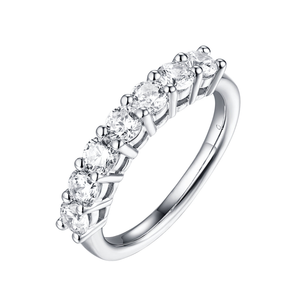 14KT White Gold 7 Diamond Prong Band - S201992B