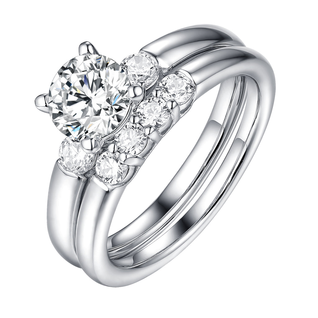 Solitaire Plus Engagement Ring S201996A and Wedding Set S201996B