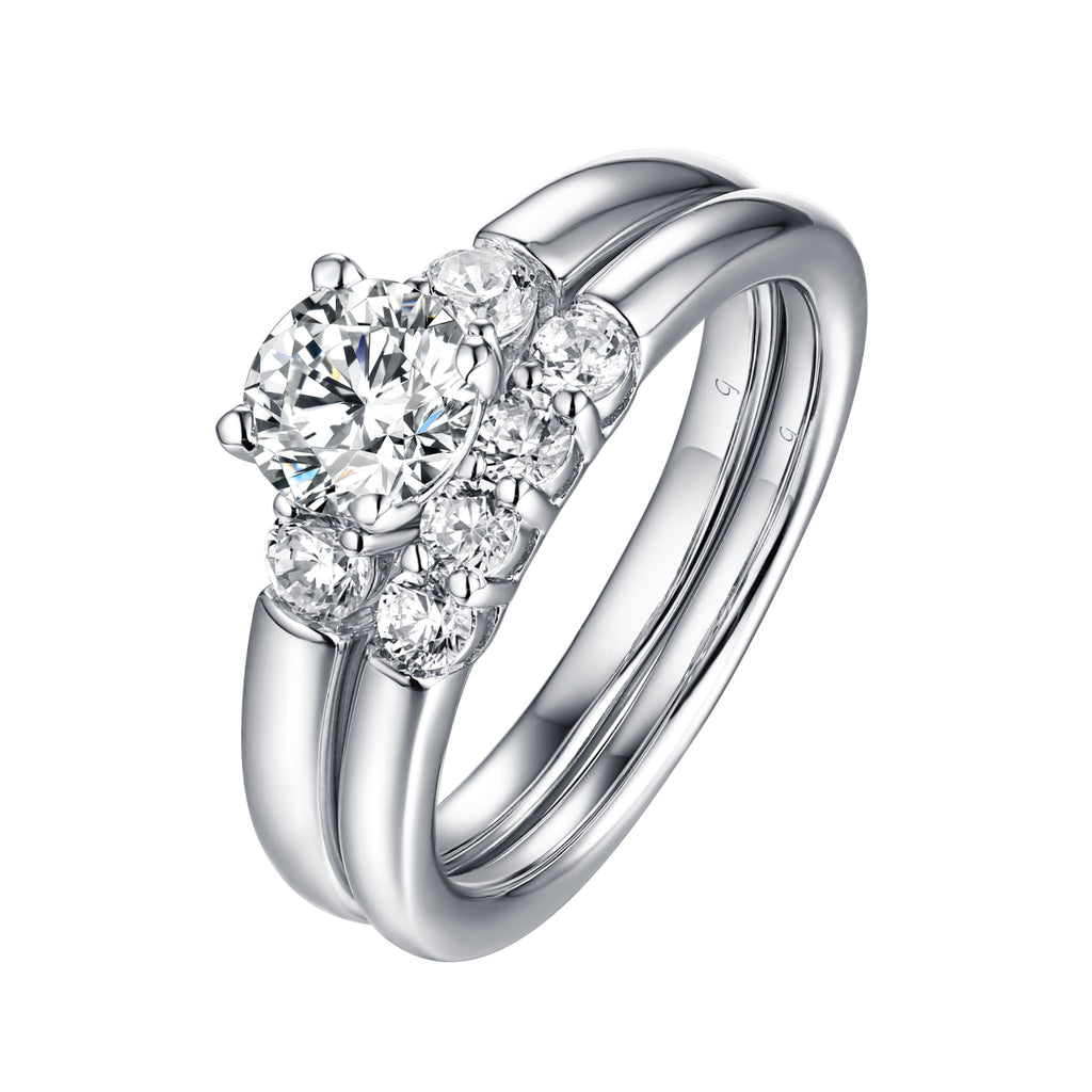 Solitaire Plus Engagement Ring S201997A and Wedding Band Set S201997B