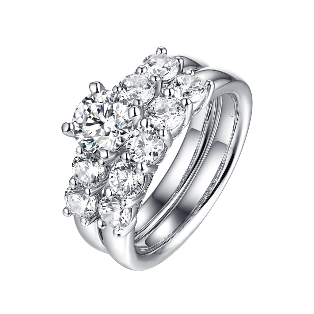 Solitaire Plus Engagement Ring S2012002A and Matching Wedding Band Set S2012002B