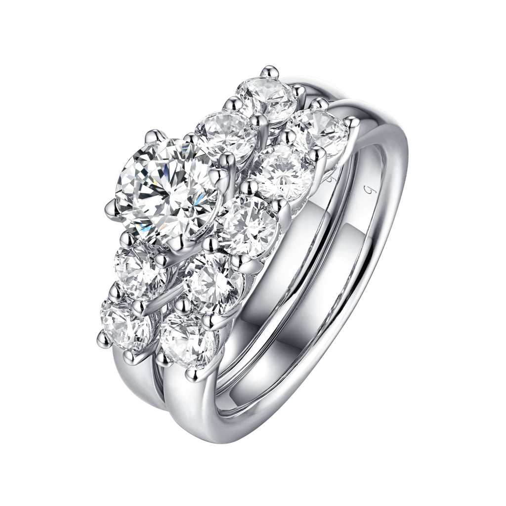 Solitaire Plus Engagement Ring S2012003A and Matching Wedding Band Set S2012003B