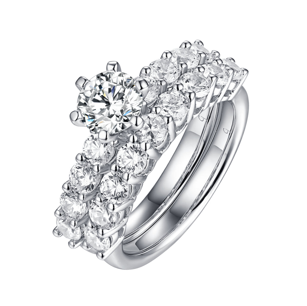 Solitaire Plus Engagement Ring S2012005A and Matching Wedding Band Set S201005B