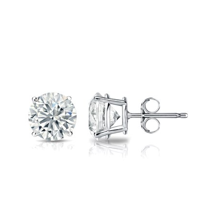 White Gold Solitaire Earring 14 KT in 1.00 Ct Tw | S201974