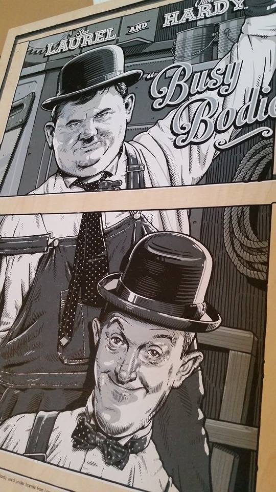 "Laurel & Hardy ""Busy Bodies"" - Wood Variant - Mad Duck Posters"
