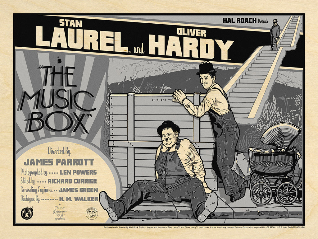 Laurel & Hardy The Music Box - B&W Wood Variant - Mad Duck Posters