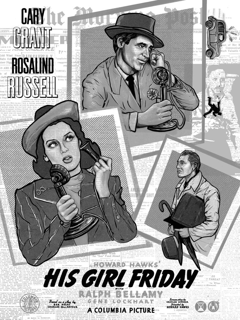 His Girl Friday - Newspaper Variant - Mad Duck Posters